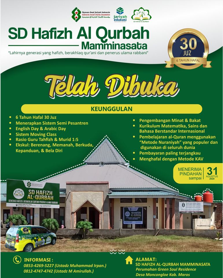 Penerimaan Murid Baru SD Hafizh Al Qurbah Mamminasata Tahun Ajaran 2021-2022