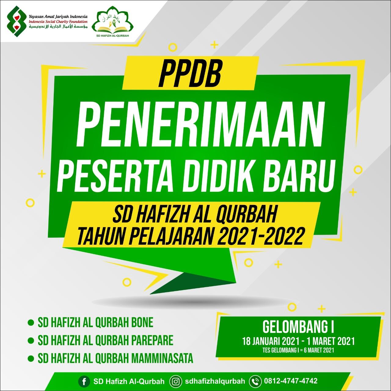 Penerimaan Peserta Didik Baru (PPDB) 2021-2022 SD Hafizh Al Qurbah
